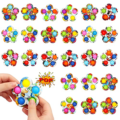 SoulLife Press Bubble Fidget Spinner, Pop Fidget Spinner Simple Fidget Popper Spinners for Stress Relief , Fidget Toy with Press Bubble for Adults Kids (24 Pack)
