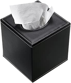 Sumnacon Stylish PU Leather Tissue Box Holder, Square Napkin Holder Pumping Paper Case..