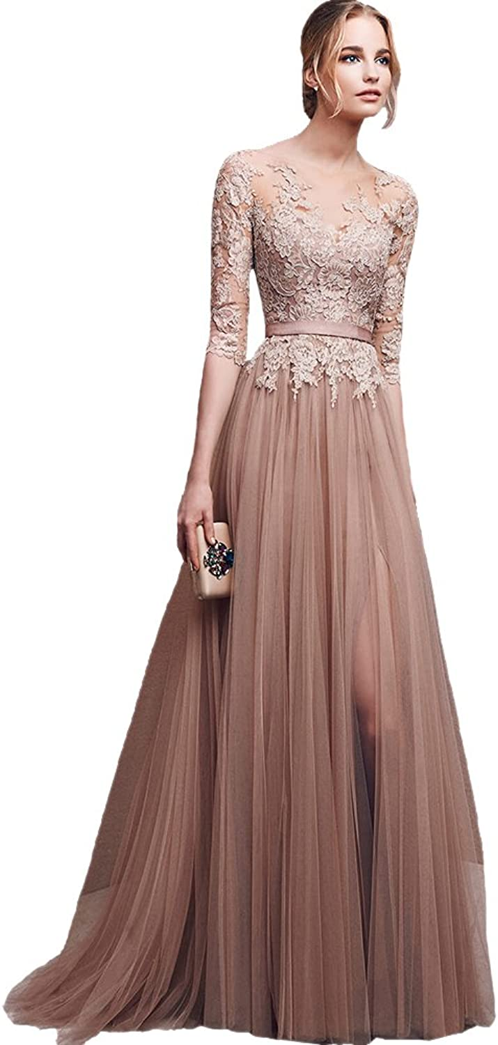 AK Beauty Women's Lace Long Prom Gown Tull Sashes Evening Formal Dress