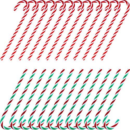 TecUnite 24 Piezas Bastones de Caramelos de Acrílico de Navidad Muleta de Juguete Torcido para Decoraciones Colgantes de Árbol de Navidad