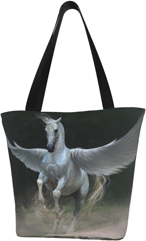 White Horse Angel Pegasus Running Themed Printed Women Canvas Handbag Zipper Shoulder Bag Work Booksbag Tote Purse Leisure Hobo Bag For Shopping