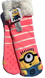 Minion Bright & Colorful Faux Fur Slipper Socks with Grippers Size 7.5-3.5