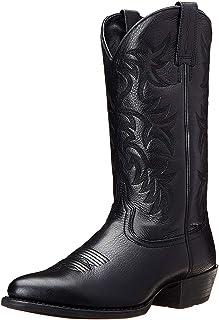 Hommes Western Cowboy Knight Bottes Hiver Broderie en Plein Air Bottes Hautes Bout Pointu en Cuir Chaussures Équestres Mod...