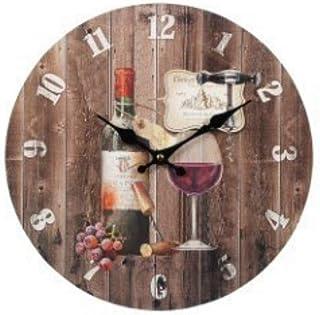 CAPRILO. Reloj de Pared Decorativo de Madera Copa y Botella Vino .Adornos. Decoración Hogar. Muebles Auxiliares. Menaje Co...