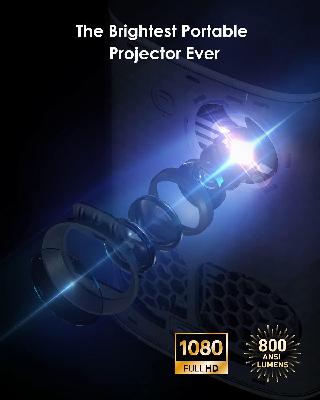 Short Throw Projector, XGIMI Halo True 1080p Portable Projector for Outdoor Movie Night, 800 ANSI Lumen, Harman Kardon Speakers, WiFi Bluetooth, Auto Focus, Auto Keystone Correction, Android TV 9.0