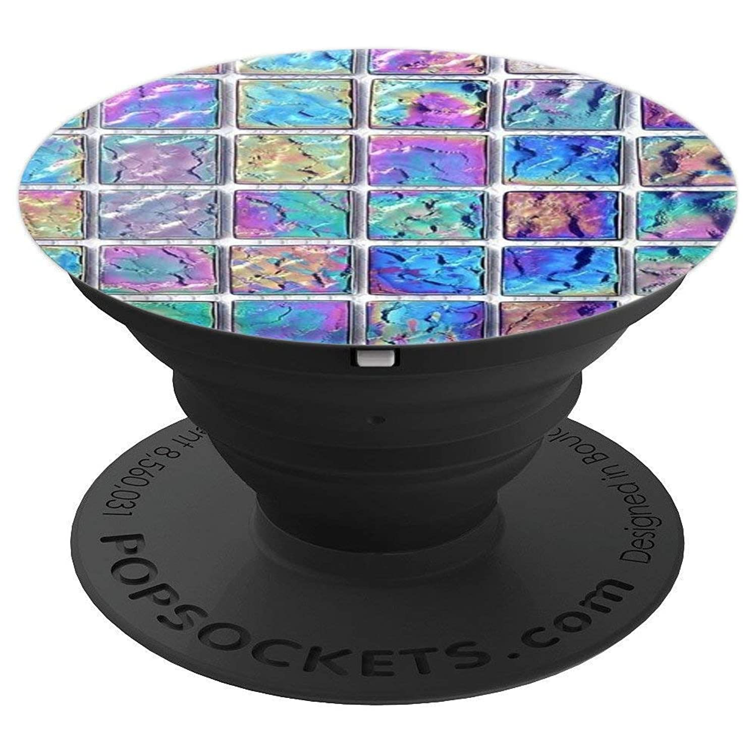 Rainbow, Iridescent Opal Mosaic Tiles, Shimmer Stone Design - PopSockets Grip and Stand for Phones and Tablets