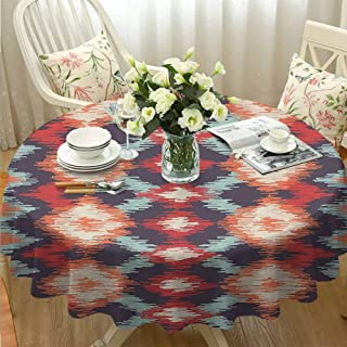 VICWOWONE Indoor Round Tablecloth Ikat Decor Single-Sided Printing Oriental Double Batik Tie Dye Weaving Style Graphic Ikat Forms Cultural Artisan Work Red Orange Teal Diameter54