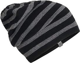 Icebreaker Merino Stripe Slouch Beanie Cold Weather Hats, One Size, Black