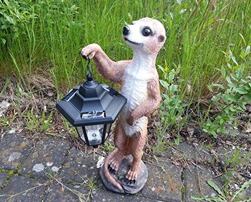Statuette de jardin de 51/cm Famille de suricates avec lanterne solaire