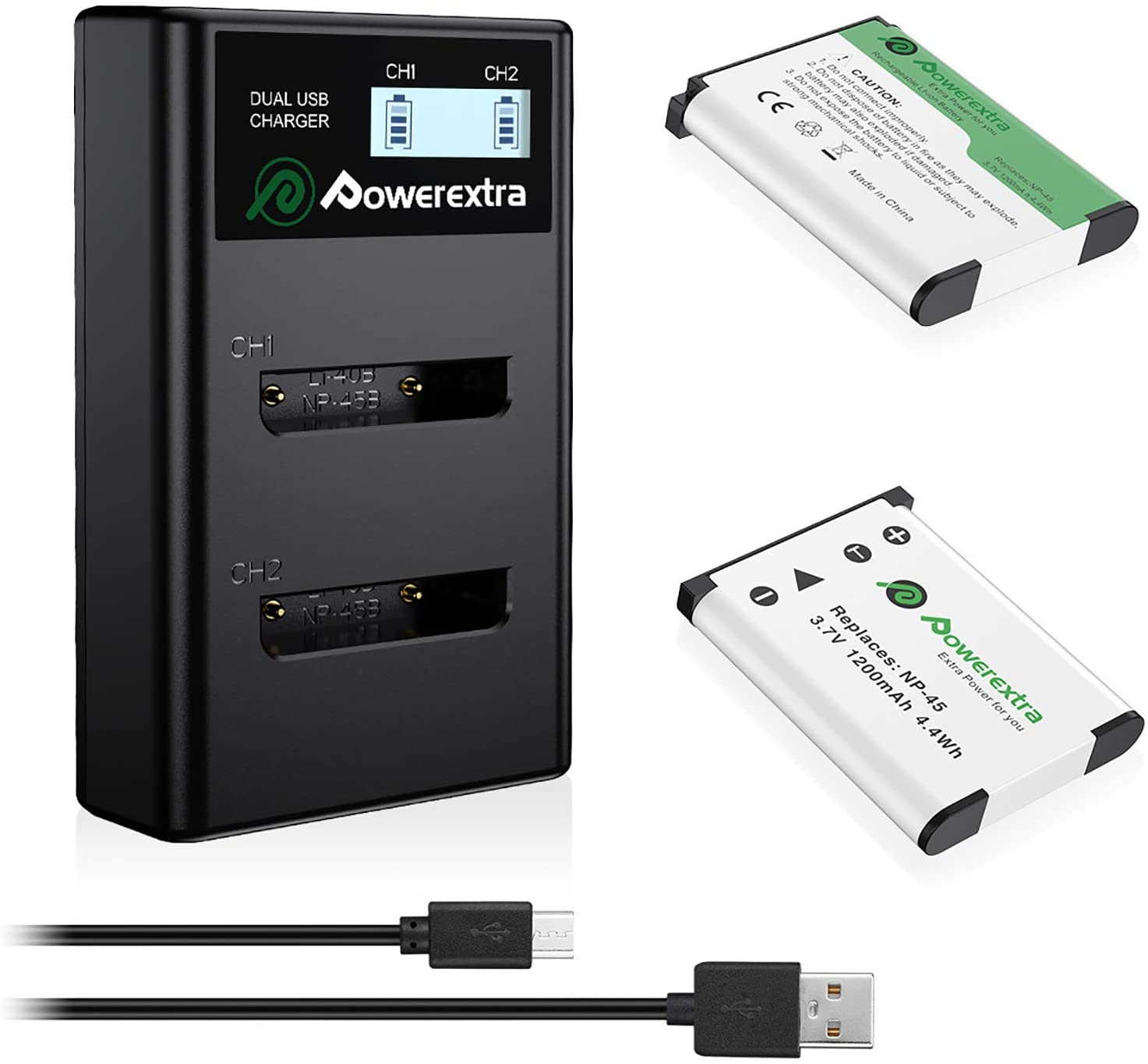 Powerextra NP-45 NP-45S Indefinitely favorite Replacement 2 Charge x LCD and Batteries