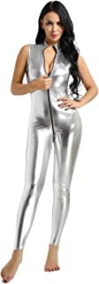 QinCiao Women's Metallic Wet Look Leather Turtleneck Sleeveless Double Zipper Crotch Teddy Bodysuit