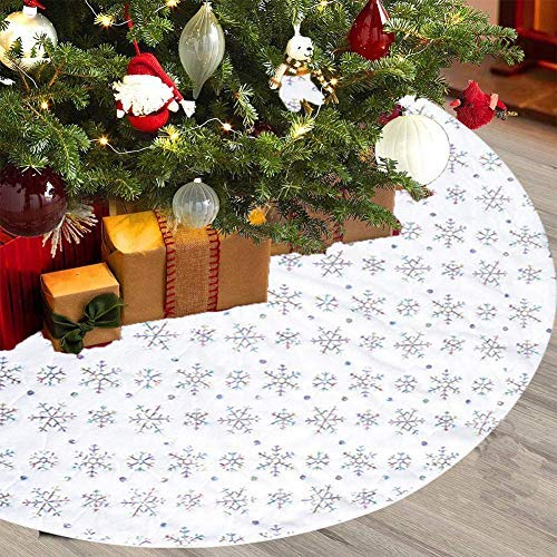 POHOVE Weihnachtsbaum Rock R& Urlaub Baumschmuck Weihnachten Party Wiederverwendbar Heim Dekor Kunst Pelz Mit Pailletten Schnee - Bunt, 122cm