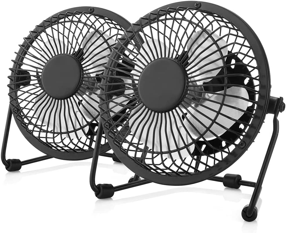 4'' USB Desk Personal Fan, Quiet Portable Mini Table Fan with One Setting, Small Portable and Lightweight Personal Fan Perfect for Use in Home, Office, Desktop, Camping or Travel, 2 PACK
