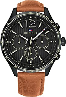 Tommy Hilfiger 1791470 Leather Chronograph Round Analog Water Resistant Watch for Men - Camel