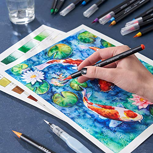 Arteza Real Brush Pens, 48 Colors for Watercolor Painting with Flexible Nylon Brush Tips, Paint Markers for Coloring, Calligraphy, Drawing with Water Brush, Art Supplies for Artists and Beginners Photo #8