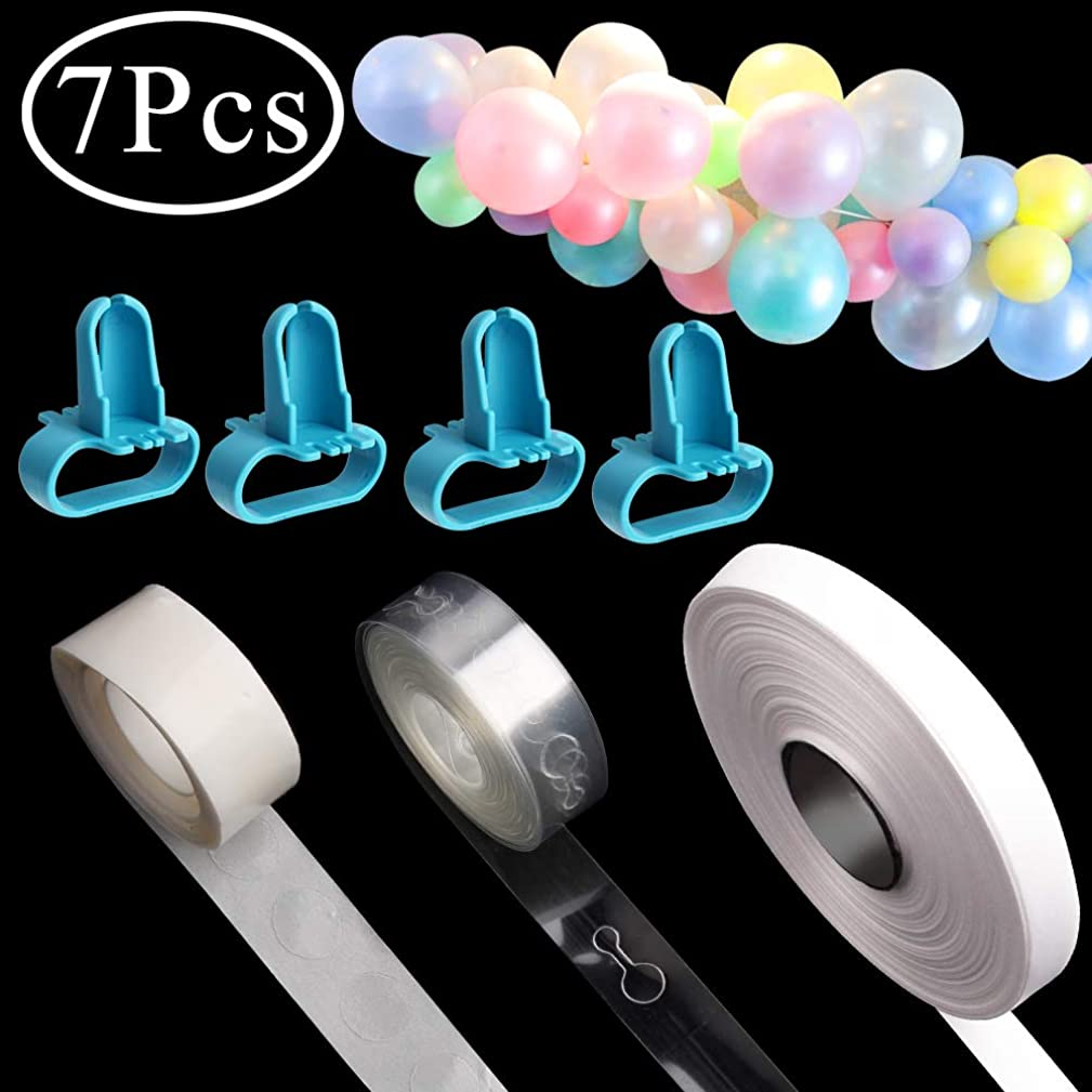 Standie 7 PCS Balloon Strip for Garland Kit Birthday Wedding Baby Shower Party Decorations with Tape Strip Tying Tool, Dot Glue