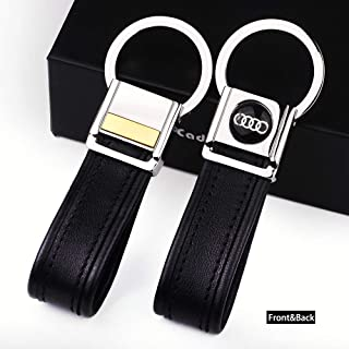 Cadtealir Highlight Stainless Steel Metal tab Lock bucle Inlaid with 18k Golden chip with Full Grain Nappa Leather Strap car Key Chain Lanyard Clips Ring for Audi for Men Woman Accessories