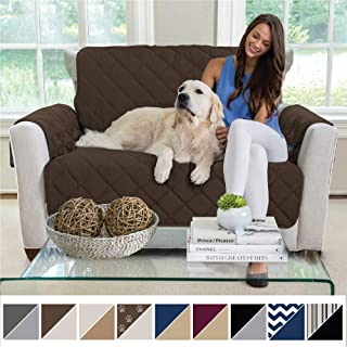 MIGHTY MONKEY Premium Reversible Chair Protector for Seat Width up to 48 Inch, Furniture Slipcover, 2 Inch Strap, Chairs Slip Cover Throw for Pets, Dogs, Cats, Armchair, Chocolate Taupe