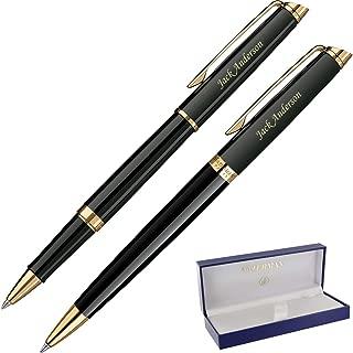 Dayspring Pens | Personalized WATERMAN Hemisphere Rollerball & Ballpoint Gift Pen Set - Black. Custom Engraved Fast!