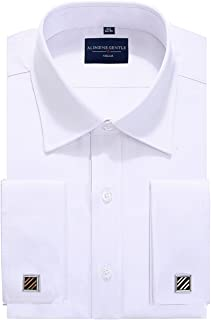 Big & Tall Solid Color Regular Fit French Cuff Dress Shirts (Cufflink Included)
