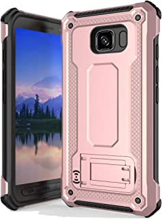 Anccer Armor Series for Samsung Galaxy S6 Active Case with Kickstand Anti Shock Dual Layer Anti Fingerprint Protective Cover for Galaxy S6 Active (Not Fit for Galaxy S6) - Rose Gold