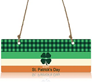 Hanging Wall Plaque Decoration, Happy St. Patrick's Day Lucky Clover Wedding/Party Decoration Signs Home Decorative Wall A...