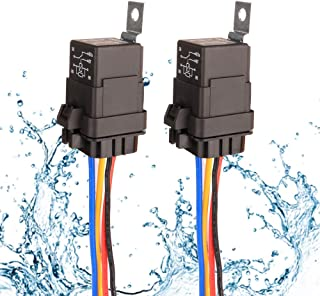 Gebildet 2 pieces 40/30 Amp Waterproof Relay Switch Harness Set - 12V DC 5-Pin SPDT Automotive Relays 14 AWG Hot Wires