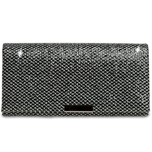 Caspar TA342 Bolso de Mano Fiesta para Mujer Clutch Elegante Brillo, Talla:Talla Única, Color:negro-plateado