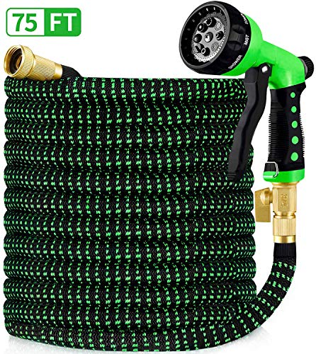 HBlife 75ft Garden Hose, All New 2020 Expandable Water Hose with 3/4' Solid Brass Fittings, Extra Strength Fabric - Flexible Expanding Hose with Free Water Spray Nozzle