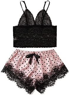 Womens Sexy Cute Heart Pattern Sheer Bow Bandage Lingerie Set Underwear Sleepwear Pajama Suit (S-XL)
