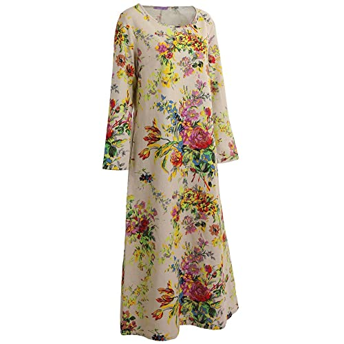 006a6e15ea18f Romacci Women Autumn Maxi Dress Floral Printed Cotton Linen Long Sleeves O  Neck Long Dress Plus