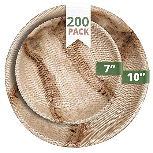CaterEco Round Palm Leaf Plates Set (200 Pack) | (100) Dinner Plates and (100) Salad Plates | Ecofriendly Disposable Dinnerware | Heavy Duty Biodegradable Party Utensils for Wedding, Camping & More