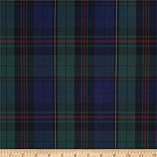 Carr Textile Poly/Cotton Uniform Plaid Green/Royal/Red/Yellow Poplin Fabric By The Yard