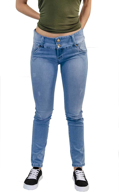 BOCARED Women's Straight Jeans with Strech Denim BDenim Hielo