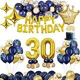 MMTX Decoraciones de cumpleaños, Oro Azul, decoración de Fiesta, decoración para Tartas, Pancarta de Feliz cumpleaños, Globos de Aluminio (30)