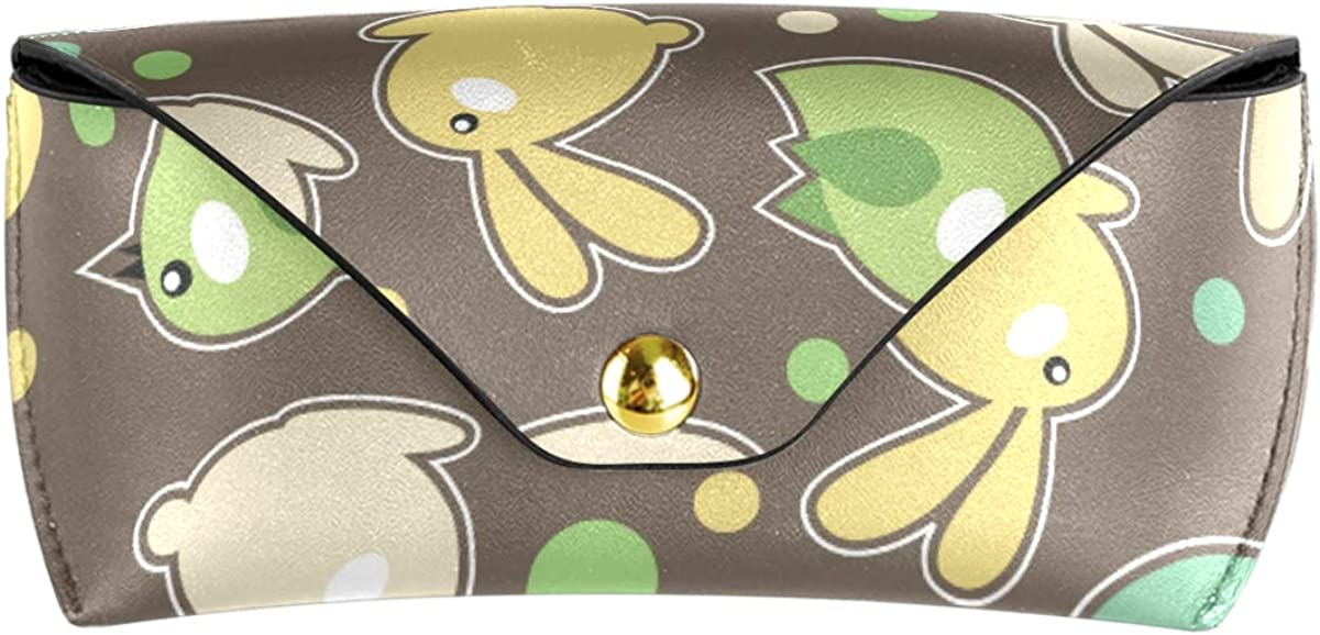 Portable Multiuse Goggles Bag Sunglasses Case Eyeglasses Pouch PU Leather gift Cute Rabbit And Bird
