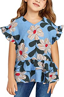 Girls Cute Shirts Summer Fall Ruffle Tunic Tops Short Sleeve High Low Slim Floral Blouses Tee 3-9 T