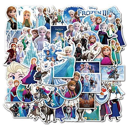 PMSMT 50 unids/Pack Frozen 2 Pegatinas Princesa Elsa para Coche Motocicleta teléfono Viaje Equipaje Carro Ordenador portátil Pegatina Juguete
