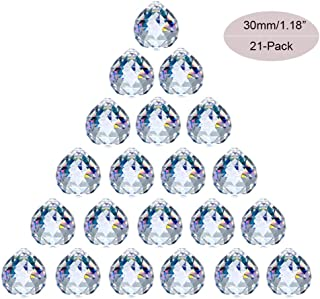 JIHUI Crystal Ball Prism 30mm/1.18 Inch Decorative Ball for Chandelier Window Suncatcher 21-Pack Rainbow Maker