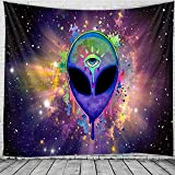 Tapiz de Alien del espacio Mandala India Tapiz de encaje Hippie Montado en la pared Tapiz de brujería psicodélica bohemia A2 100x150cm