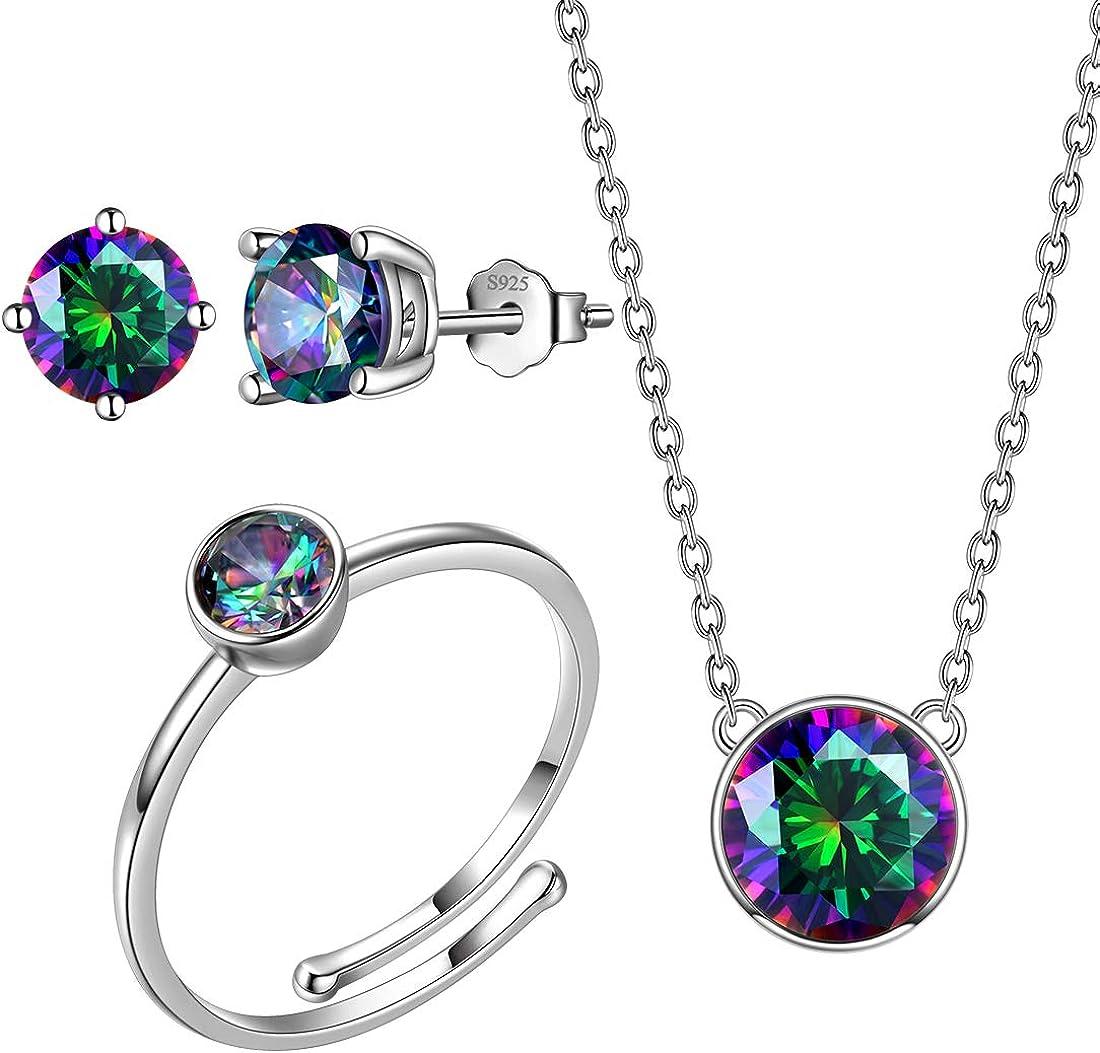 Aurora Tears Mystic-Rainbow-Topaz 925 Import Sterling Silver Arlington Mall Wo Jewelry