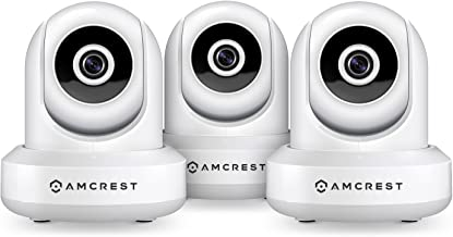 3-Pack Amcrest ProHD 1080P WiFi/Wireless IP Security Camera IP2M841 (White) Pan/Tilt, 2-Way Audio, Optional Cloud Recording, Full HD 1080P 2MP, Super Wide 90° Viewing Angle, Night Vision (White)
