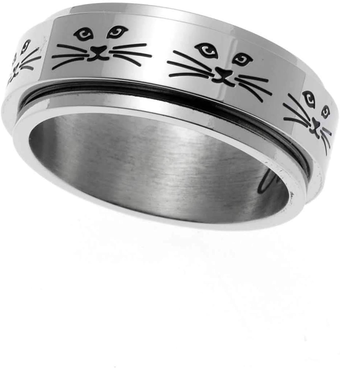 Joyful Sentiments Sale price Pet Jewelry Free Shipping Cheap Bargain Gift Stainless Cat Face Steel R Spinner