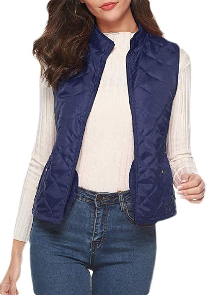 Andrea Spence Women Sleeveless Jackets Thick Light Weight Zip Up Quilted Vests Outwear