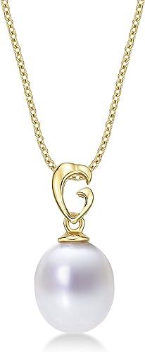 Glänzende Echte Perlenhalskette mit 8-8.5mm Weißr Echter Frischwasserperlen-Tropfen-Anh er. Einzelperlenkette mit Perlenanh er in Luxuri m 9k GelbGold mit Goldkette.