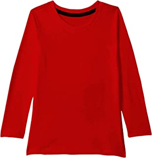 American-Elm Red Plain 100% Cotton Full Sleeve Tshirt for Boys | Solid Tshirt for Kids
