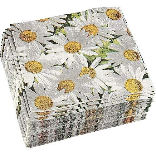 Paquete de 100 Servilletas Decorativas - Servilletas de papel desechables para fiestas con diseño de margaritas