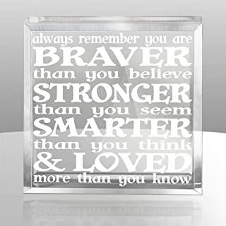 Kate Posh - Always remember you are BRAVER than you believe, STRONGER than you seem, SMARTER than you think & LOVED more than you know - Engraved Keepsake and Paperweight - Christopher Robin to Pooh