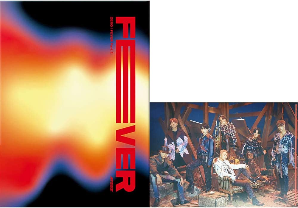 ATEEZ Zero : Fever Part.2 6th Mini álbum PT 2 (versión A) CD+póster+folleto de fotos+tarjeta de foto+tarjetas postal+pegatina+(juego de 10 tarjetas de foto)