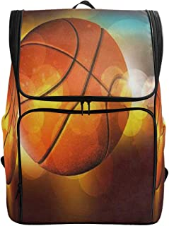 Travel Backpack Basketball On The Color GlowCollege Backpack for Women Large Boxy Bag